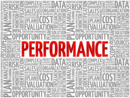 Collage de nuage de mot de performance, fond de concept d'entreprise