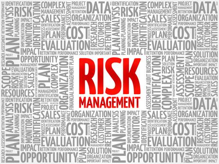 Gestión de riesgos, nube de palabras, collage, concepto de negocio, plano de fondo