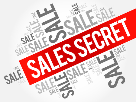 Sales Secret words cloud, business concept background Иллюстрация
