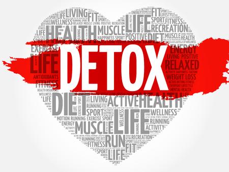 DETOX heart word cloud, fitness, sport, health concept