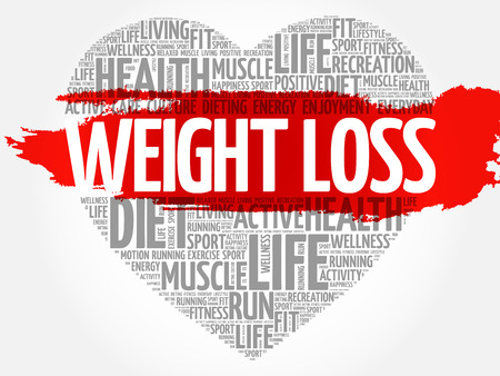 WEIGHT LOSS heart word cloud, fitness, sport, health concept