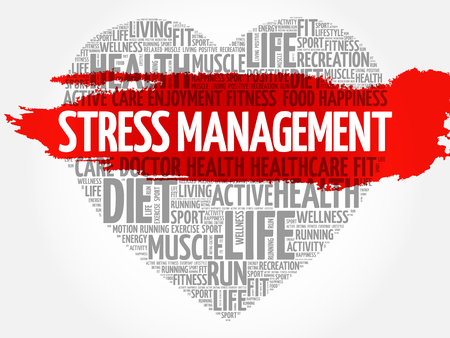 Stress Management heart word cloud, fitness, sport, health concept