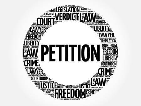 Concetto della nuvola di parola petizione