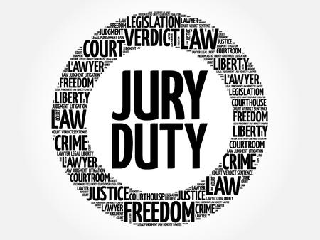 Concepto de nube de word de servicio de jurado