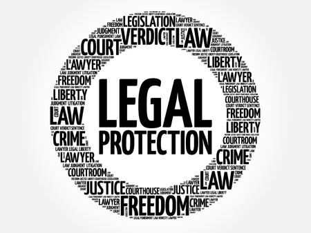 Legal Protection word cloud concept Vetores