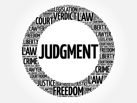 Judgment word cloud concept