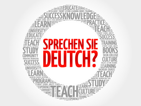 Sprechen Sie Deutch? (Do you speak German?) word cloud, education business concept