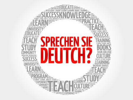 Sprechen Sie Deutch ? (Parlez-vous allemand ?) Nuage de mots, concept d'entreprise d'éducation Vecteurs