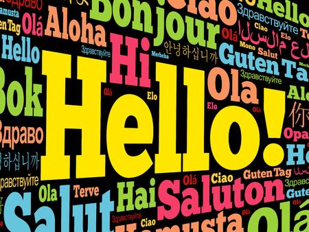 Hola nube de palabras en diferentes idiomas del mundo, concepto de fondo Ilustración de vector