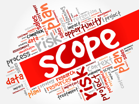SCOPE word cloud collage, business concept background