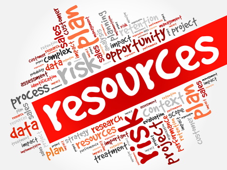 RESOURCES word cloud collage, business concept background Vettoriali