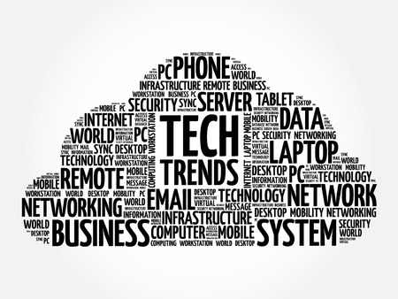 Tech Trends word cloud collage, technology concept background