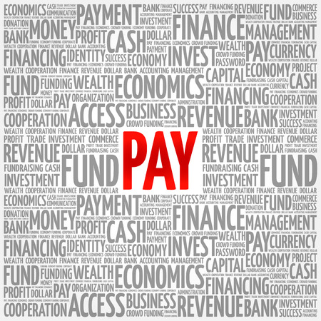 PAY word cloud collage, business concept background