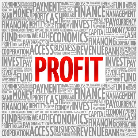 PROFIT word cloud collage, business concept background