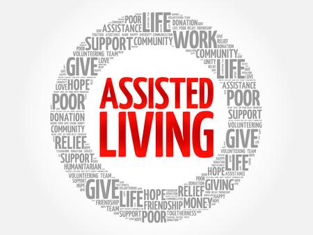 Assisted Living Wortwolkencollage, Konzepthintergrund