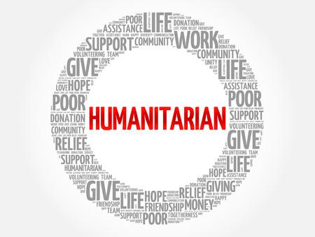 Collage de nuage de mots humanitaires, arrière-plan de concept social Vecteurs