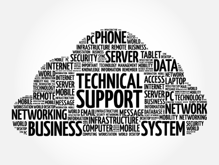 Technical support word cloud collage, technology concept background Vektorové ilustrace