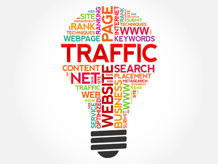 TRAFFIC bulb word cloud collage, business concept background