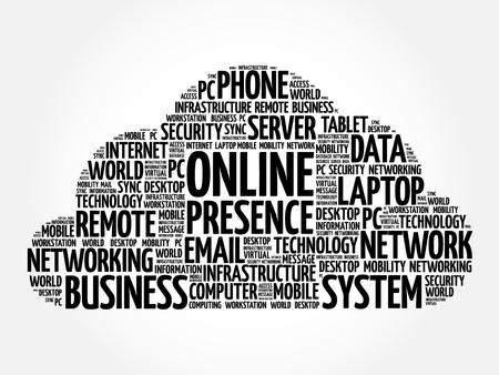 Online Presence word cloud collage, internet concept background Vetores