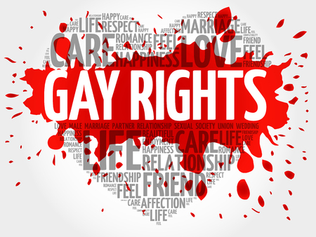 Gay rights word cloud collage, heart concept background Illustration