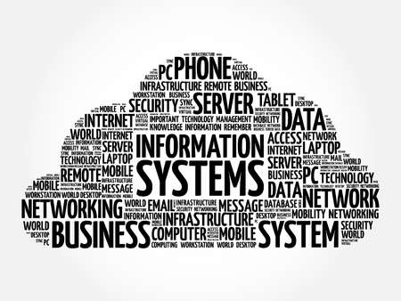 Information Systems word cloud collage, business concept background Çizim