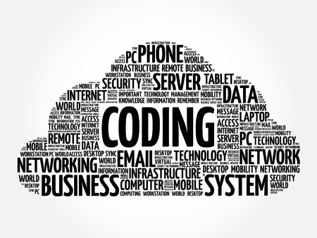 Coding word cloud collage, business concept background Illustration