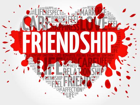 Friendship word cloud, heart concept Illustration