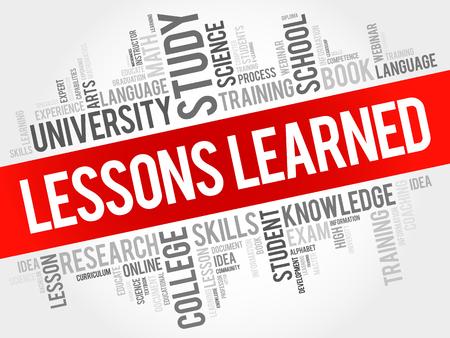 Lezioni apprese word cloud, il concetto di istruzione sullo sfondo