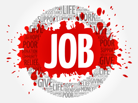 JOB word cloud collage, concept background 일러스트