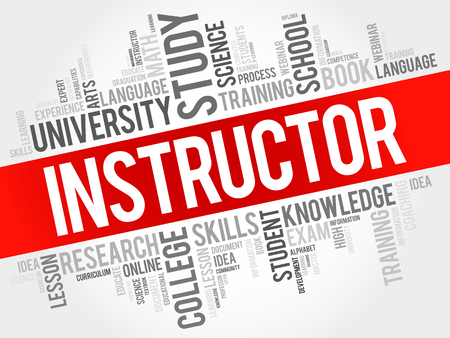 INSTRUCTOR word cloud collage, education concept background Vectores