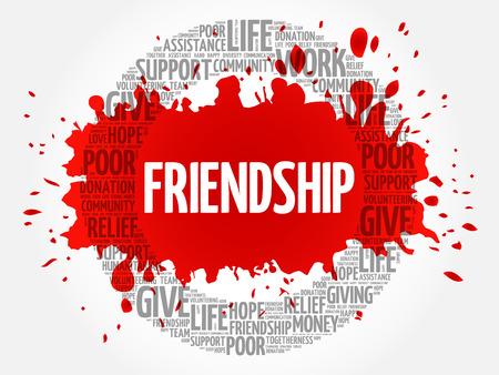 Friendship word cloud collage, concept background Vetores