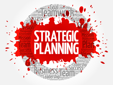Strategic planning circle stamp word cloud, business concept Çizim