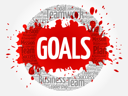 Goals word cloud collage, business concept background Иллюстрация