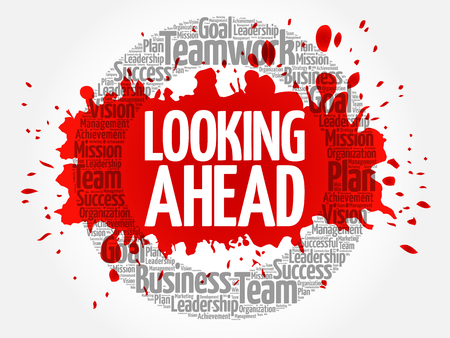 Looking Ahead circle stamp word cloud, business concept Vetores