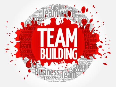 Nube de word de círculo de Team Building, concepto de negocio