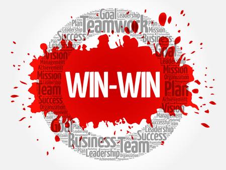 Win-win - winning solution word cloud, business concept Vetores