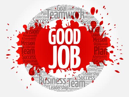 Good Job circle stamp word cloud, business concept
