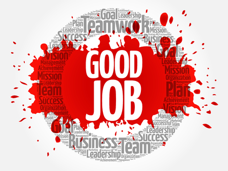 Good Job circle stamp word cloud, business concept Illustration