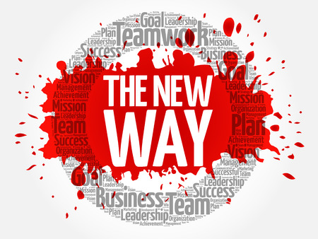The New Way word cloud collage, business concept background Ilustração