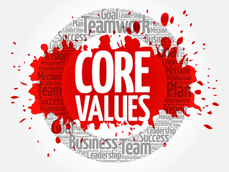 Core Values circle stamp word cloud, business concept