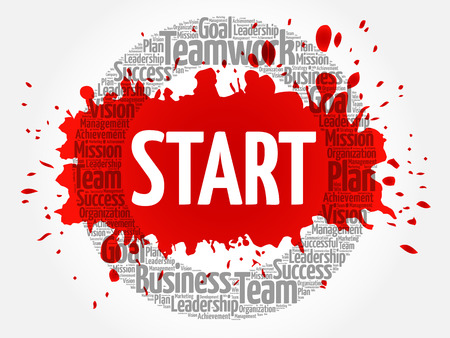 Start circle stamp word cloud, business concept