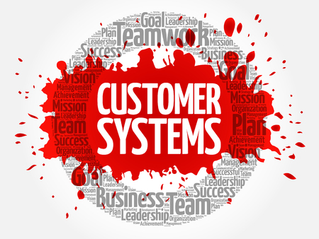 Customer Systems circle word cloud, business concept 矢量图像