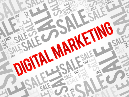 Digital Marketing words cloud, business concept background 일러스트
