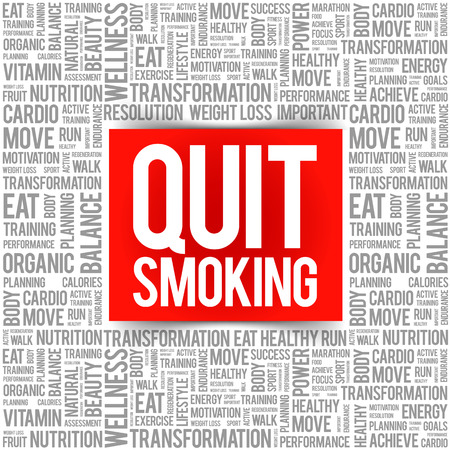 Quit Smoking word cloud collage, health concept background