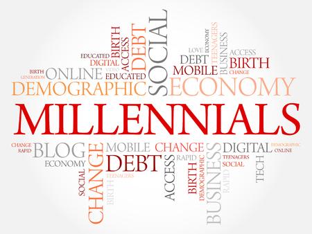 Millennials Word Cloud Social Concept collage background Illusztráció