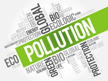 Pollution word cloud, conceptual green ecology background Imagens - 107648659
