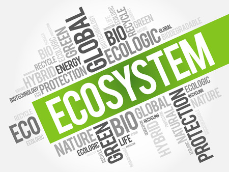 Ecosystem word cloud, conceptual green ecology background Ilustração