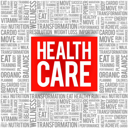 Health care word cloud background, health concept 向量圖像
