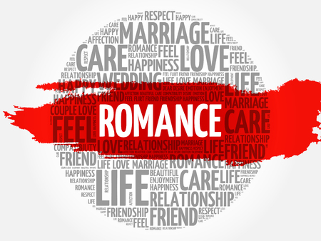 Romance circle word cloud collage concept