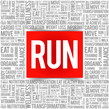 RUN word cloud, fitness, sport, health concept  イラスト・ベクター素材